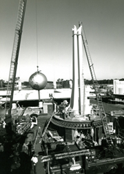 The Crossroads tower at Walt Disney World in Orlando, Florida under construction.