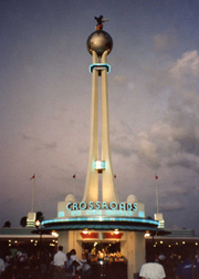 The Crossroads tower is front and center as the Information Booth at Walt Disney World in Florida.