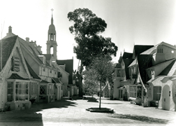 European architecture in Crossroads' Continental Village on its opening in 1936.